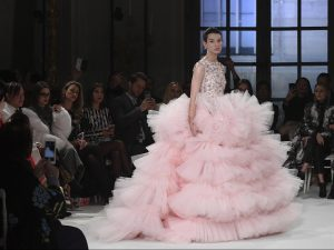 A model presents a creation by Giambattista Valli during the 2017 spring/summer Haute Couture collection on January 23, 2017 in Paris. (ALAIN JOCARD/AFP/Getty Images)