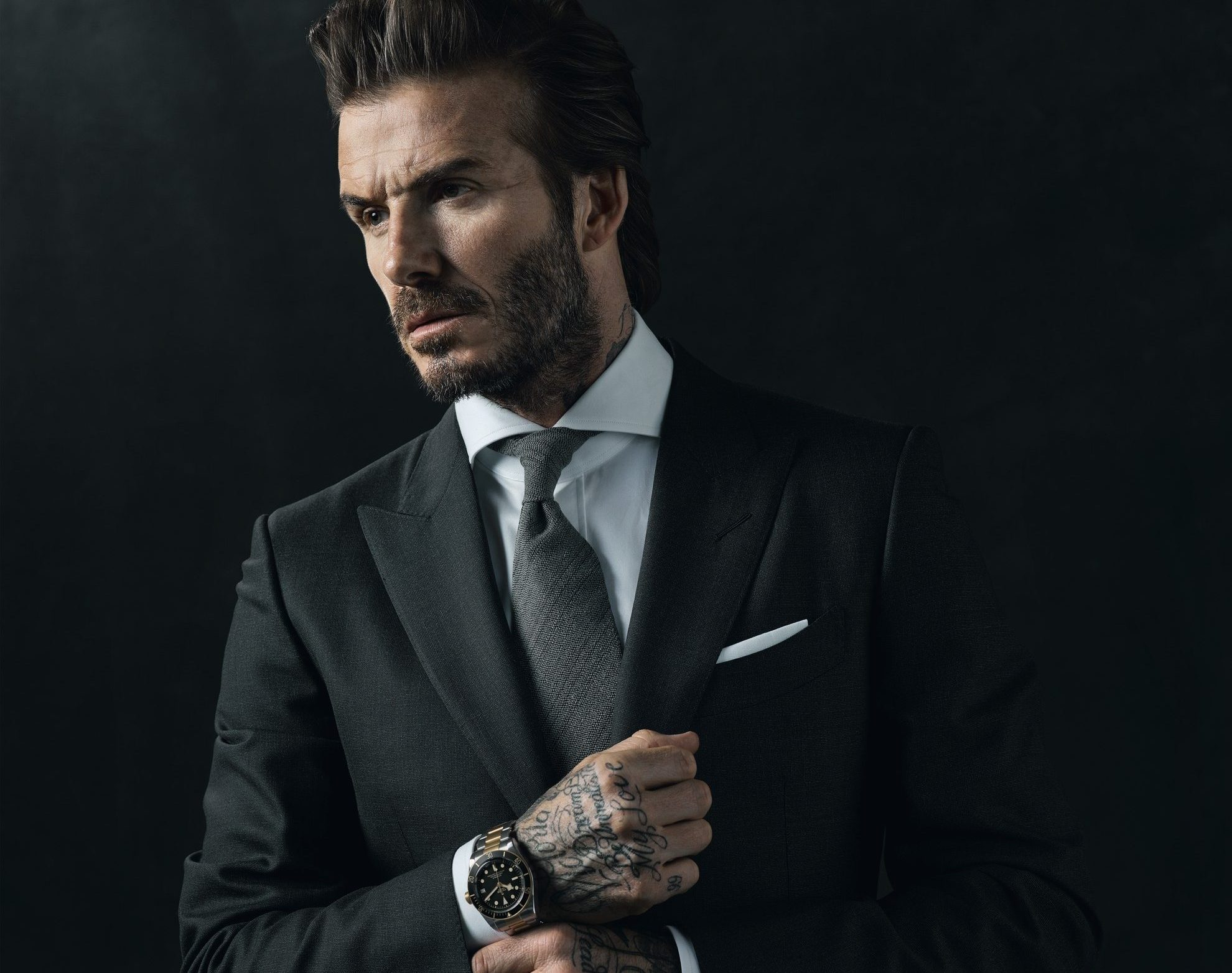 DAVID BECKHAM wearing a TUDOR watch